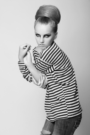 black woman face: black and white photography from portfolio vogue model. studio shoot.