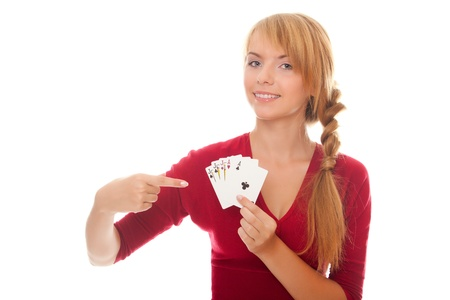 young woman holding in hand poker card of Full House isolated on the white background photo