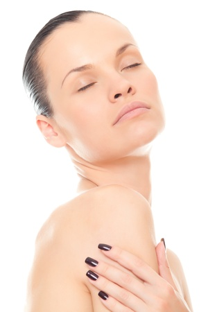 closeup face woman with healthy skin and closed eyes isolated over white background photo