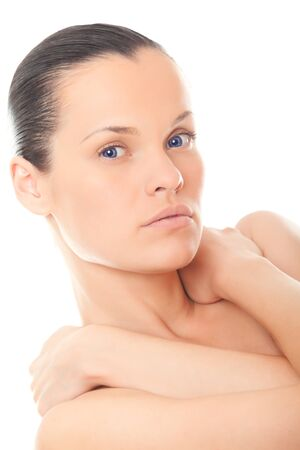 closeup face woman with healthy skin isolated over white background photo