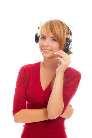friendly young woman on-line operator in headphones isolated on white background Stock Photo - 10502889