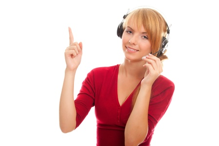 young woman help line operator in headphones and shows a finger up isolated on white background Stock Photo