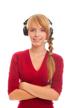 young woman in headphones isolated on white background