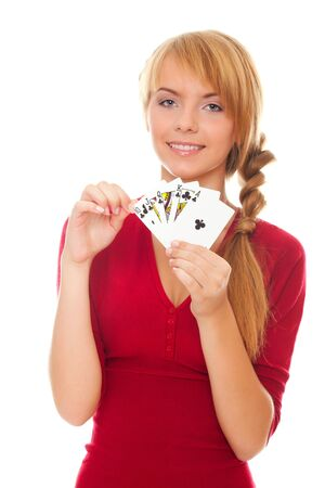 young woman holding poker card isolated on the white background