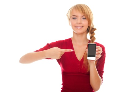 young woman showing a finger on the smartphone isolated on white background