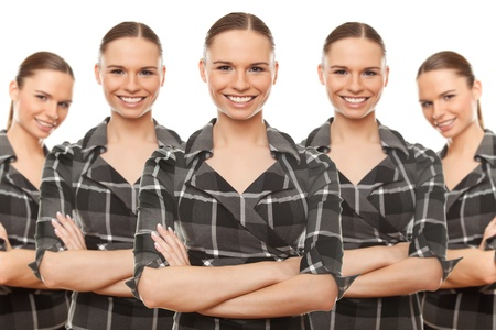business concept army clones office managers. on white background. Stock Photo