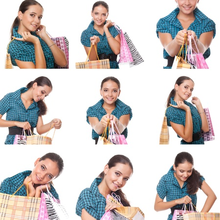 collage of images young  shoppers woman holding and looks in the bag for shopping Stock Photo