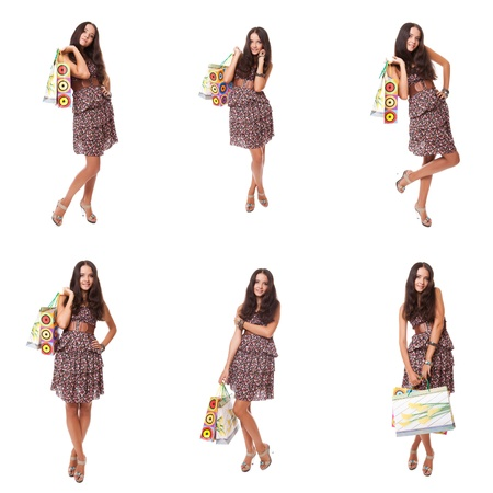 collage of images woman shopper  holding bag for shopping