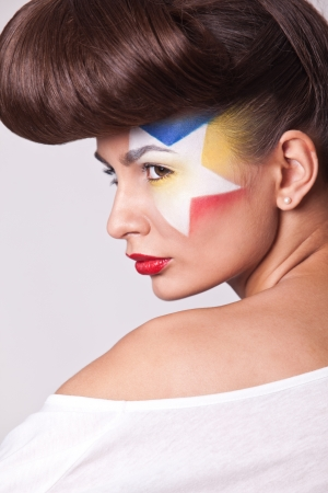 closeup photo beautiful fashion model with bright makeup Stock Photo - 16191028