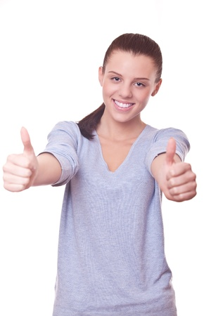 beautiful smiling woman with thumbs up on two hand. sign good, OK Stock Photo - 16248098