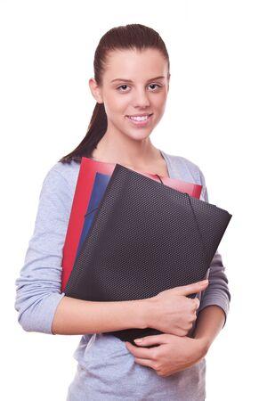 bookkeeper: sonriente mujer gerente o tenedor de libros con las carpetas y documentos