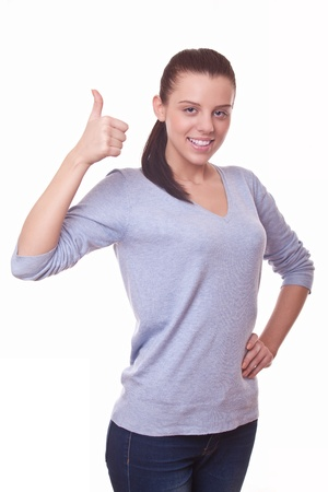 woman showing hand with thumb up, symbol it is ok Stock Photo - 16380247