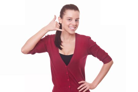 woman in red blouse making gesture call me  isolated on white Stock Photo - 16380198