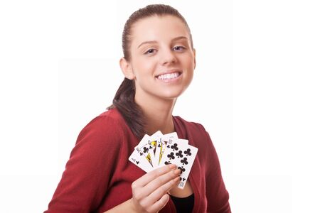 young woman holding in hand poker card with combination Royal Flush photo