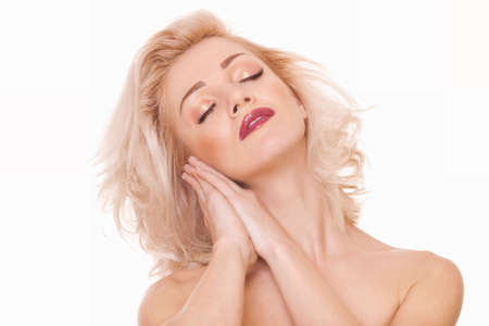 closeup sensuality portrait blonde woman with closed eyes