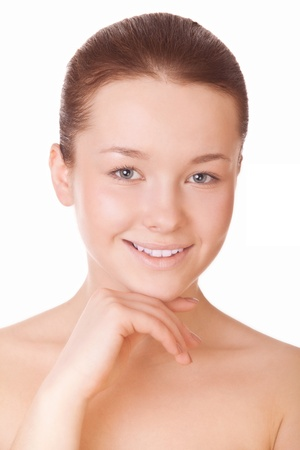 humidify: beautiful healthy woman face isolated on white background Stock Photo