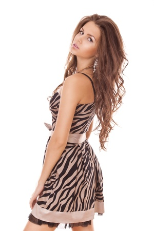 woman with beauty long brown hair posing at camers, studio shot Stock Photo