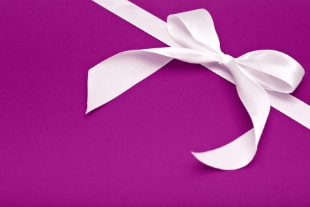 white bow on purple background, holiday theme photo