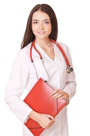friendly female doctor with red folders isolated on white background photo