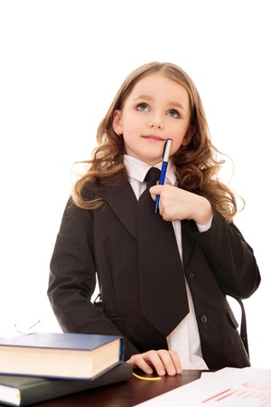 little girl as thoughtful  business woman with books and pen isolated on white background Stock Photo