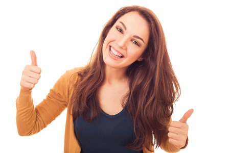 happy woman shows gesture OK, its good Stock Photo