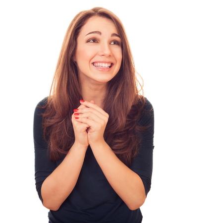 cute woman. bright emotional portrait in studio