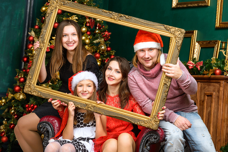 happiness christmas family concept - big smiling family celebrate x-mas Stock Photo