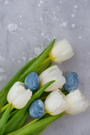 Eggs with white tulip - template for greetings card