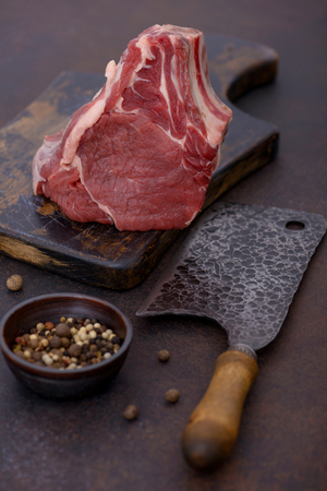 Ingredient for barbecue steak - raw beef meat on cutting board Stock Photo