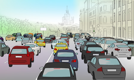 Traffic jam of cars on the main street Stock Illustratie