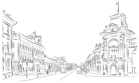 City streets and historic buildings , outline , sketch Illustration