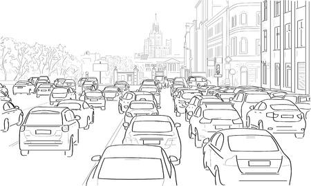 bocetos de personas: Atasco de tráfico de coches en la calle principal Vectores