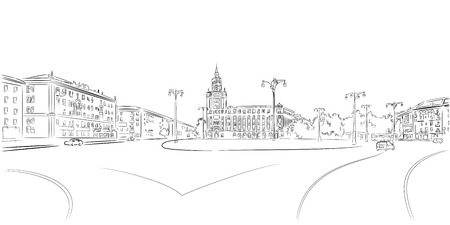 plaza: Town Square and historic building contour sketch
