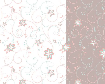 bleached: Two-colored background of flowers and curls vector Illustration
