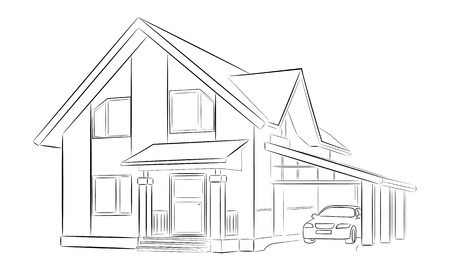 Sketch of a private house with two floors with carport Vectores