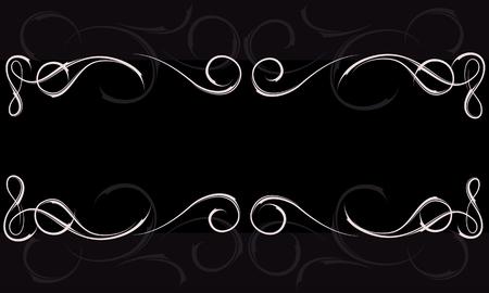 curls: Frame curls ornament on a black background Illustration
