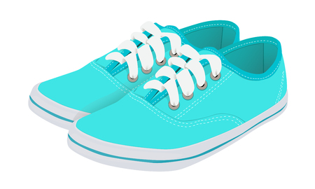 sole: Blue running shoes with laces on a white rubber sole Illustration