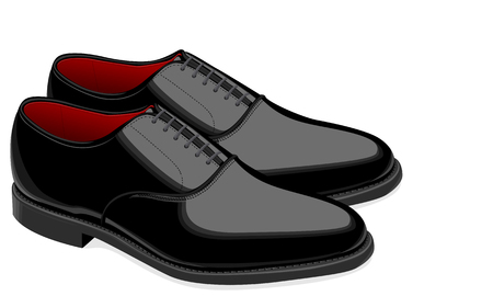 men's shoes: Black men shoes with patent leather heel and laces Illustration