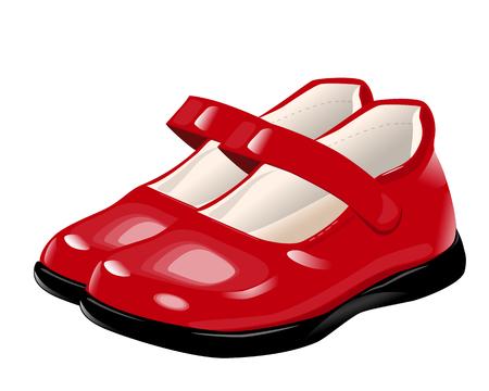 rote Schuhe für Mädchen auf den schwarz lackierten Sohlen