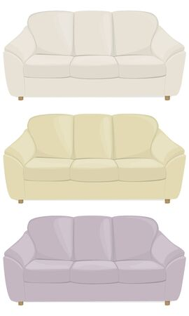 cushions: three sofas in different colors with soft cushions