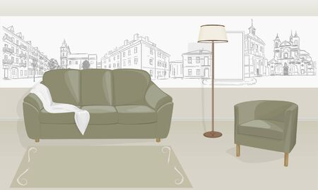 overlooking: room with a sofa and chair and a floor lamp Mural overlooking the city
