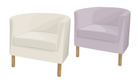 armchairs: Armchairs domestic soft semicircular of different colors on the legs