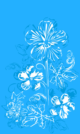 abstract flowers buttercups blue with white petals