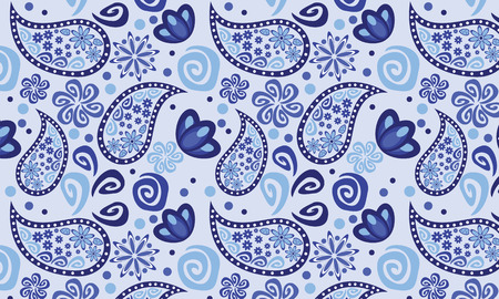 cucumbers: Blue graphic floral pattern eastern background cucumbers Illustration
