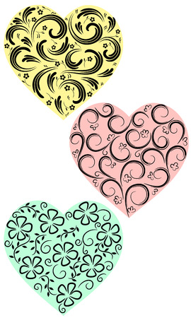 Three hearts from curls on a homogeneous background Illustration