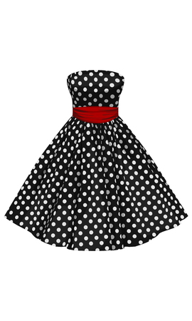 Vector black dress with white polka dots with a red belt