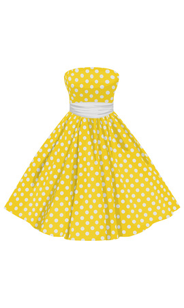 yellow dress: Vector yellow dress with white polka dots with a white belt