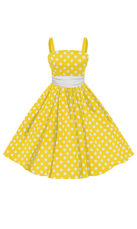 straps: Vector yellow dress with white polka dots with straps Illustration
