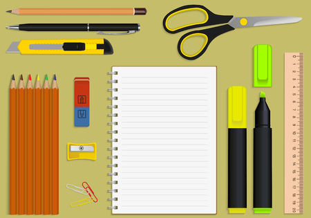 work office: set of office supplies and stationery notebook Illustration