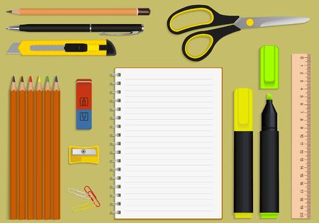 papeles oficina: un conjunto de material de oficina y papelería bloc de notas Vectores